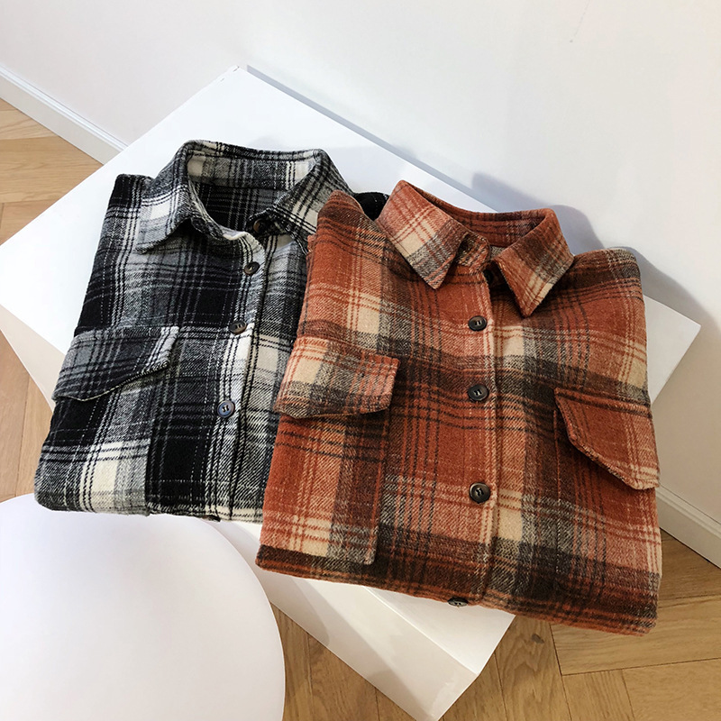 Mooirue-camisas gruesas de Invierno para mujer, camisas blusa a cuadros, color naranja, gris, para novio, Tops