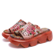 Women high-end new leather sandals, casual and comfortable fashion ms platform shoes & # 39; S leather joker printing sandals(China)