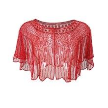 11 cores Vintage Mulheres Frisado Lantejoulas Noite Encobrir Malha Cape Casaco Bolero Bolero Xale de Casamento Das Mulheres