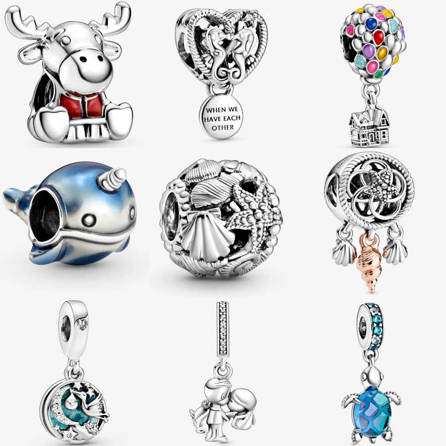 Real 925 Sterling Silver Up House Balloons Charm Fit pandora Bracelet  Necklace Married Couple Sea Turtle Charm DIY Jewelry