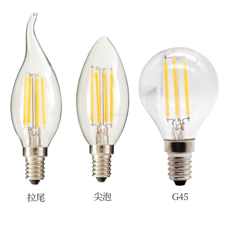 Светодиодный ламп накаливания E14 C35 C35L G45 светодиодный лампы E27 A60 ST64 Edison светильник 220V 2W 4W 6W Античная Ретро Винтаж Стекло лампа