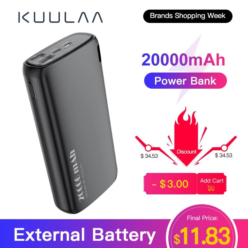 KUULAA chargeur de batterie externe 20000 mAh chargeur portatif de batterie de téléphone Portable de paupérine de charge 20000 mAh pour Xiaomi Mi