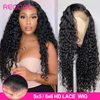 Recool 4x4 zamknięcie peruka koronki przodu peruki z ludzkich włosów brazylijski Water Wave peruka 180 250 gęstości 6x6 zamknięcie koronki kręcone ludzkie włosy peruka