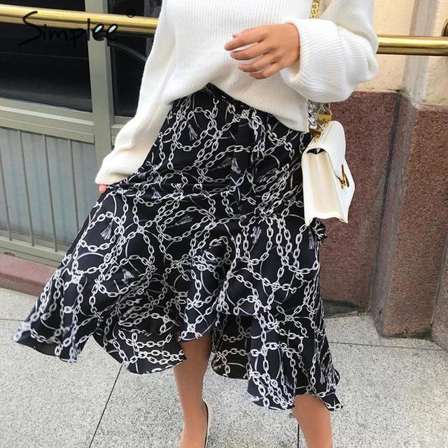 Simplee Fashion chain print women midi skirt Elegant lace up mid waist female wrap skirt Spring summer chic ladies skirts bottom 1