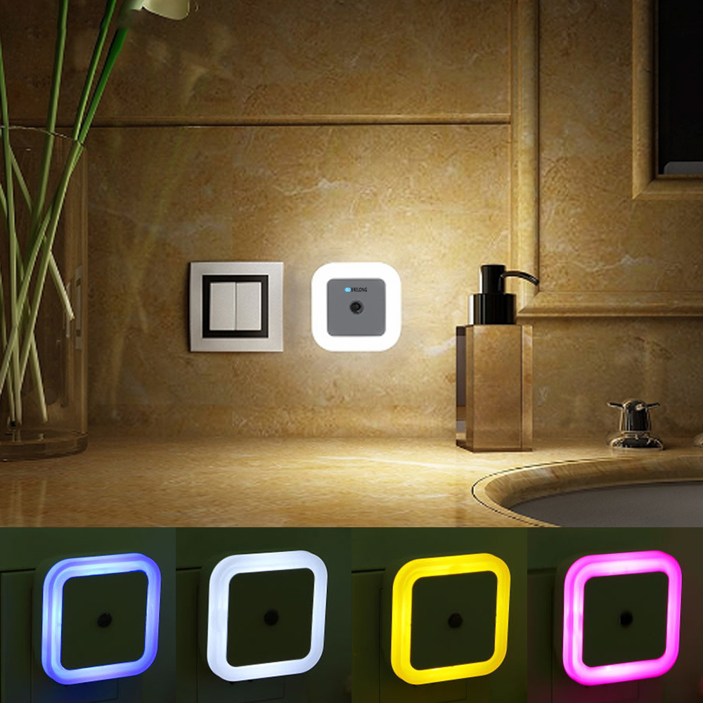 BRELONG Plug-in LED Night Light With Dusk To Dawn Sensor, Square Night Light For Bedroom, Bathroom, Kitchen, Hallway, Staircase