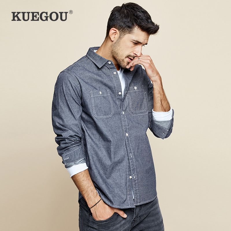 KUEGOU 2019 Autumn Cotton Letter Blue Shirt Men Dress Button Casual Slim Fit Long Sleeve For Male Brand Blouse Plus Size 6957