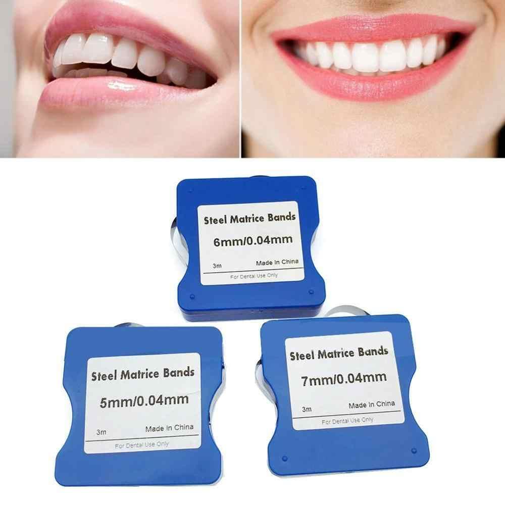 3 متر الفولاذ المقاوم للصدأ Matrice العصابات 5 مللي متر/6 مللي متر/7 مللي متر عرض 0.025 مللي متر Thichness جيدة مرنة الصلب مصفوفة شرائط لفة مصفوفة الأسنان