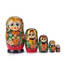 5 pçs pintados à mão matryoshka conjunto brinquedos criativos bonecas de nidificação desejando boneca russa