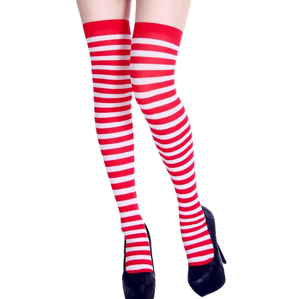 Calcetines hasta la rodilla para mujer, calcetín largo, Sexy, Delgado, a rayas, para otoño, Navidad, Halloween, disfraz de bola de Pascua, hasta la rodilla