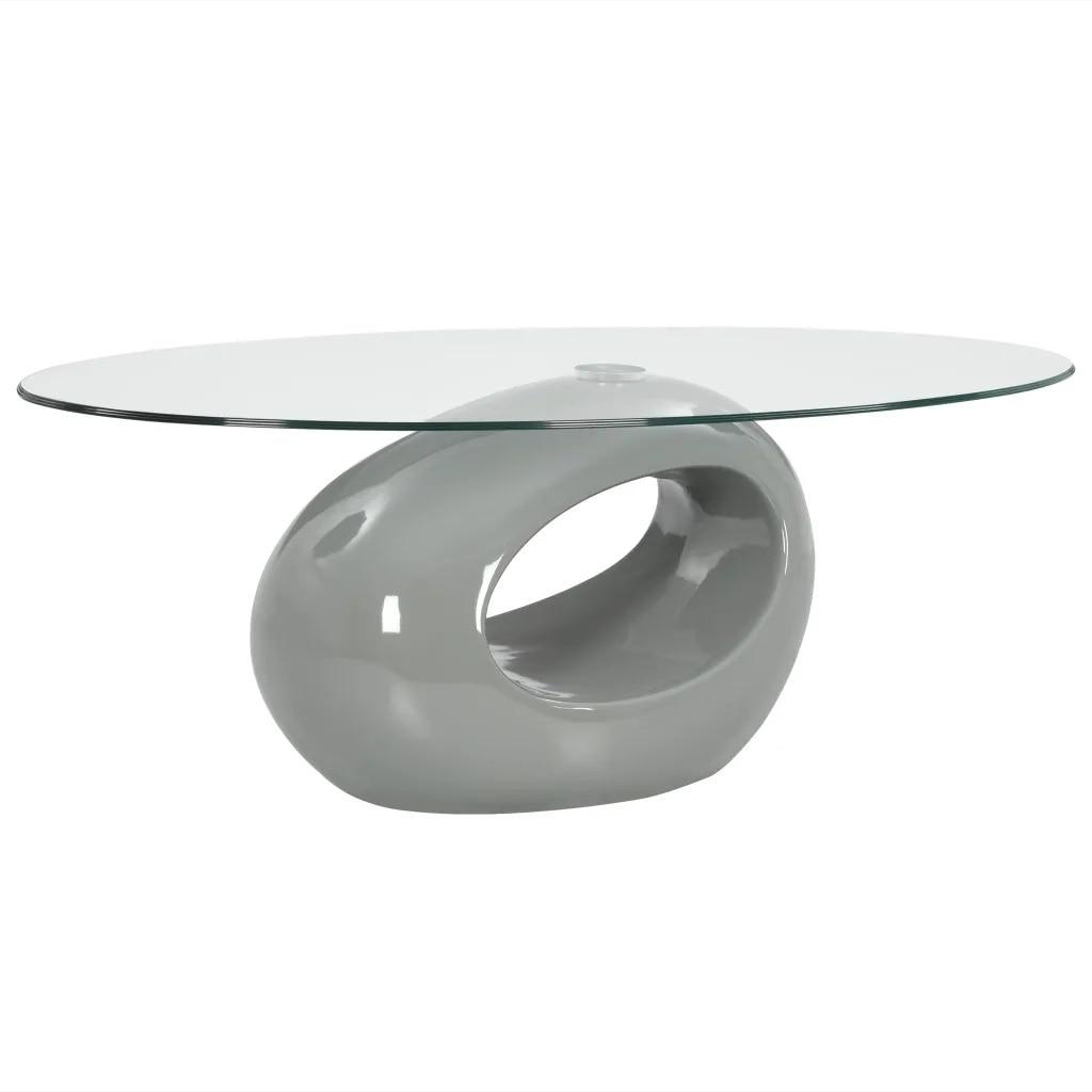 VidaXL Coffee Table With Oval Glass Top High Gloss Grey 282987