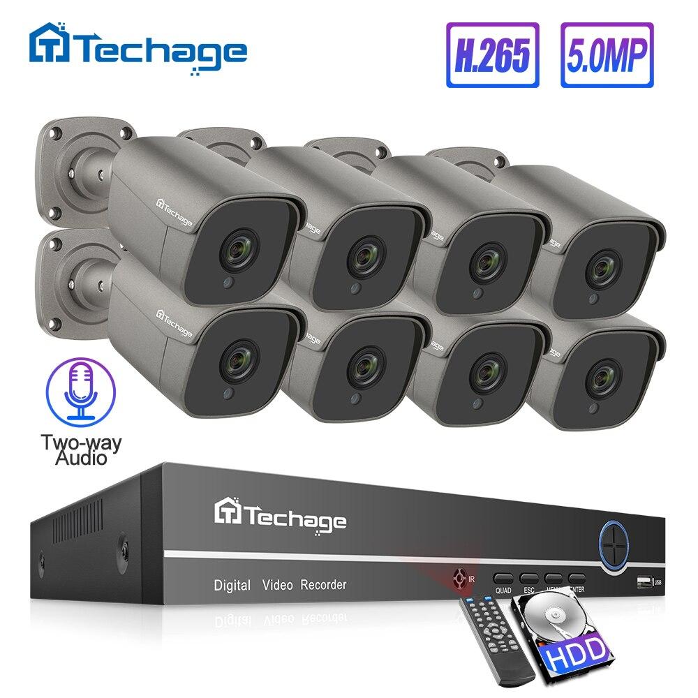 H.265 8CH 5MP HD POE NVR Kit CCTV sistema de dos vías Audio sonido AI IP Cámara IR al aire libre P2P Video Vigilancia Conjunto 2TB HDD Videoportero VANSOALL, timbre cableado de teléfono, sistema de videoportero, Monitor a Color de 7 pulgadas y cámara HD con liberador de puerta, botón táctil