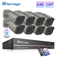 H.265 8CH 5MP HD POE NVR комплект системы видеонаблюдения двухсторонний Аудио Звук AI IP камера ИК Открытый P2P видео безопасности наблюдения комплект 2 ...