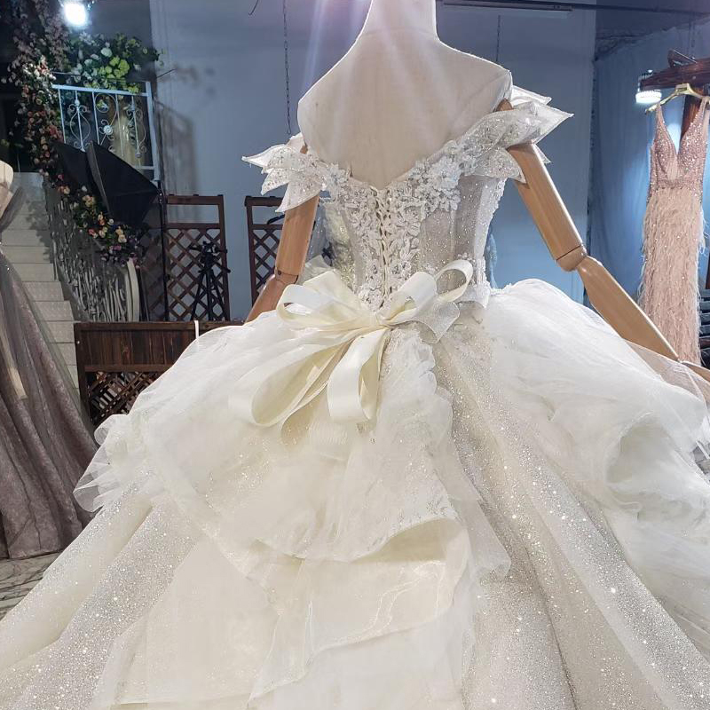 HTL1839 Luxurious Sequined Beading Crystal Pearls Wedding Dress 2020 V-Neck Short Sleeve Ball Gowns 3
