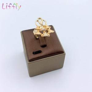 Image 5 - Комплект ювелирных изделий в нигерийском стиле, золотой цвет, свадебный кристалл, Дубай, Ювелирные наборы для женщин, ожерелье, серьги, браслет, кольцо, набор