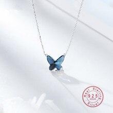 OBEAR 925 Sterling Silver Blue Crystal Butterfly Necklace Women's Jewelry Love M