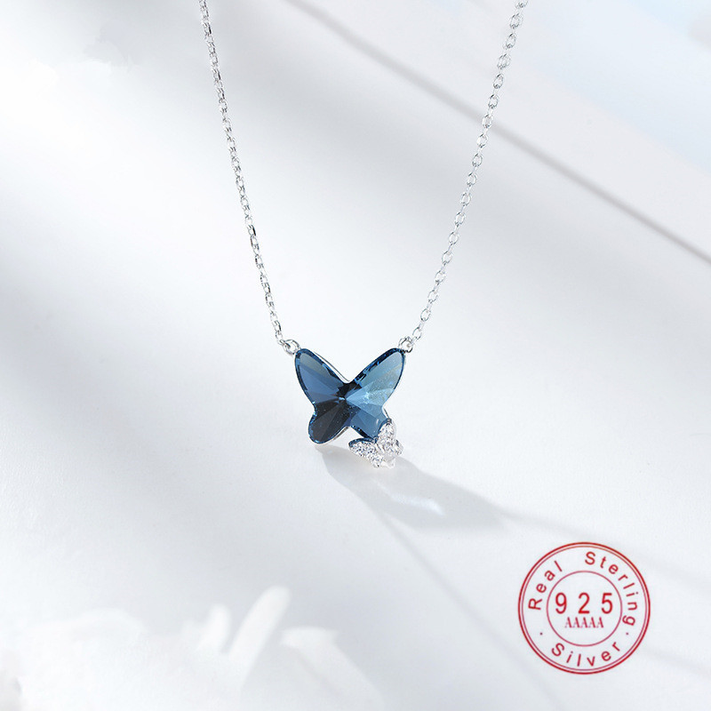 OBEAR 925 Sterling Silver Blue Crystal Butterfly Necklace Women's Jewelry Love Memory Wedding Valentine's Day Gift for Women