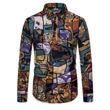 Linen Shirts Men Plaid graffiti Stand collar Unique button design Long sleeves New Casual Floral Men's Shirt burgundy stand collar long sleeves top with button details