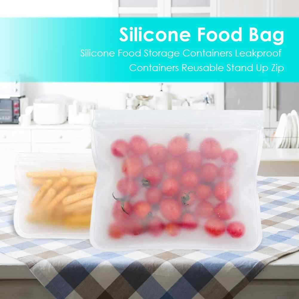 10pcs PEVA Silicone Fruit Food Bag Leakproof Reuse Fresh Kitchen Storage Pouch