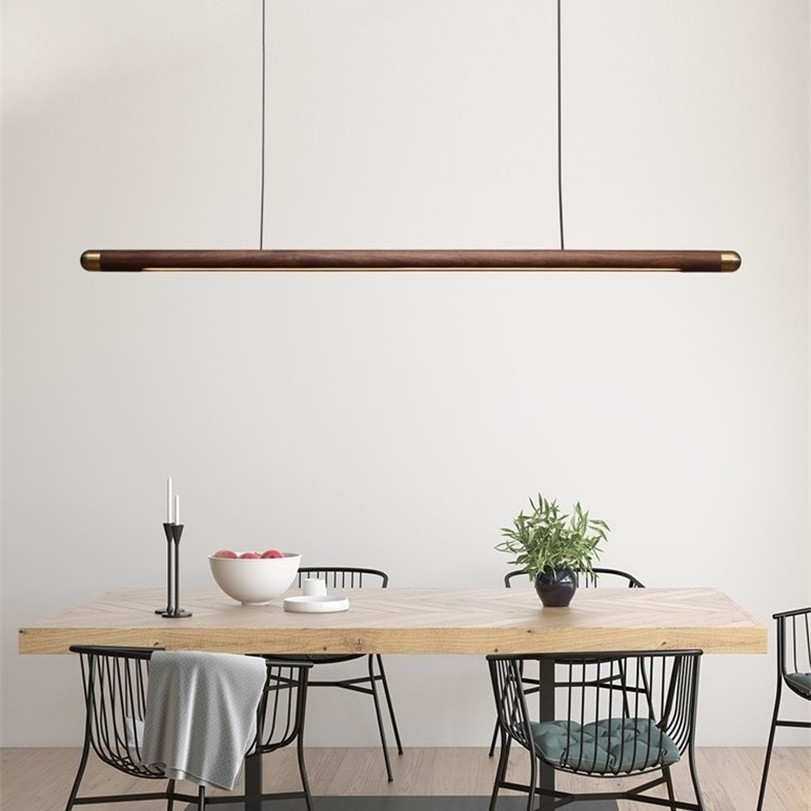 Designer Dining Room Wood Pendant Lights Black Walnut Minimalist Long Strip Led Hanglamp Home Decor Dining Table Light Fixtures