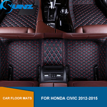 Leather Car floor mats For Honda Civic 2012 2013 2014 2015 Custom auto foot Pads Waterproof Carpets automobile carpet cover SUNZ auto floor mats for ford explorer 2013 2014 2015 foot carpets car step mats high quality brand new embroidery leather mats