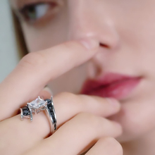 Row Black Stone Sterling Silver Ring Jewelry for Women