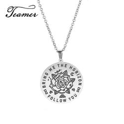 Teamer Follow You Bring Me To The Horizon Stainless Steel Necklace Round Flower Pendant Choker Chain Jewelry Couple Gift