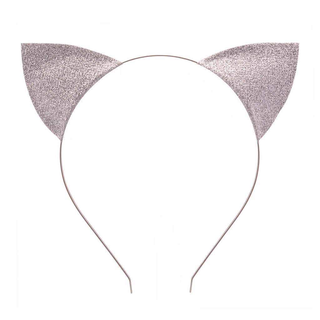 Disco brilhante orelhas de gato fluff faixas de cabelo bonito bandana acessórios para o cabelo hoop cosplay para meninas meninas cabeça wear crianças hairband