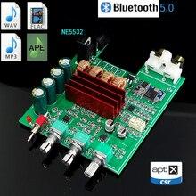 KYYSLB 50W * 2 DC12 25V DP4 TPA3116D2 5.0 APTX Bluetooth Placa Amplificadora 2 Peças NE5532 Febre Placa Amplificador Digital alto baixo