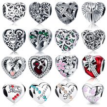 COLOGO 100% Authentic 925 Sterling Silver Heart Shape Charm Beads Fit Original Charm Bracelet  DIY Authentic S925 Jewelry ws06 недорого