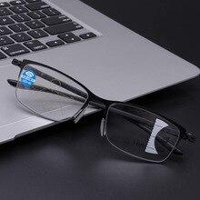 Очки для чтения из сплава синего света, мужские прогрессивные многофокусные очки, женские очки с дальним видением, оправа из сплава, очки диоптрий