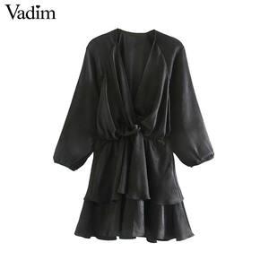 Image 1 - Vadim women chic ruffled black mini dress V neck elastic waist long sleeve party club fashion casual dresses vestidos QD054