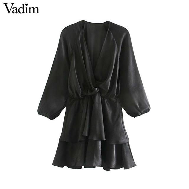 Vadim women chic ruffled black mini dress V neck elastic waist long sleeve party club fashion casual dresses vestidos QD054