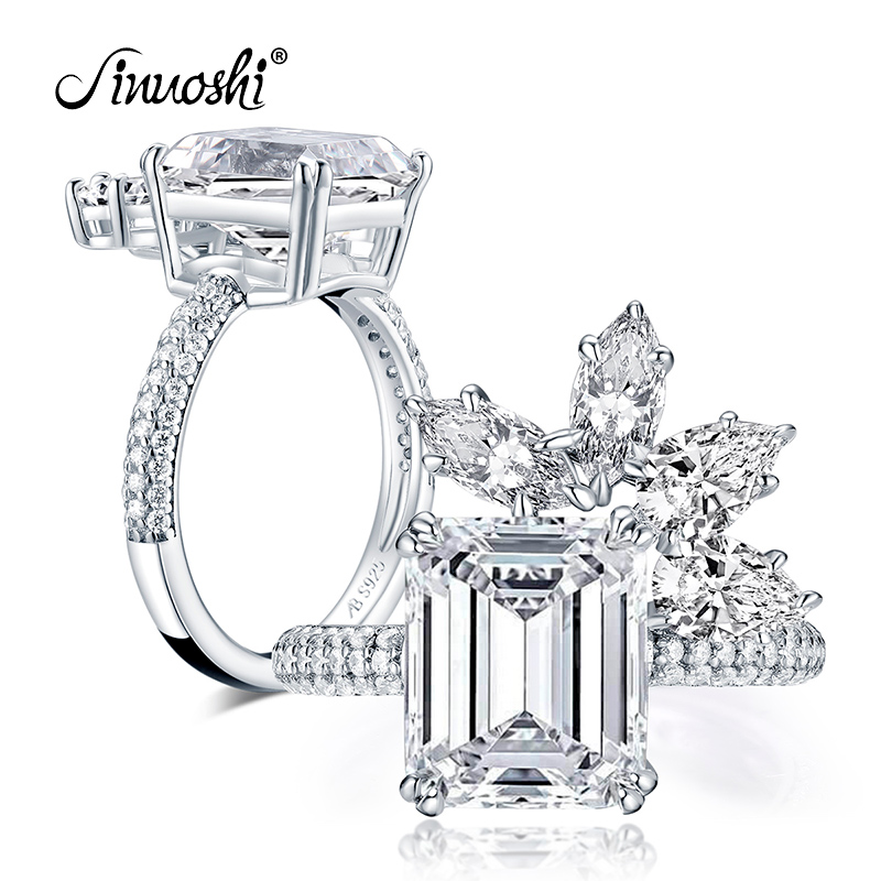 AINUOSHI 925 Sterling Silver 4.0 Carat Emerald Cut Flower Engagement Ring Simulated Diamond Women Wedding Silver Ring Jewelry