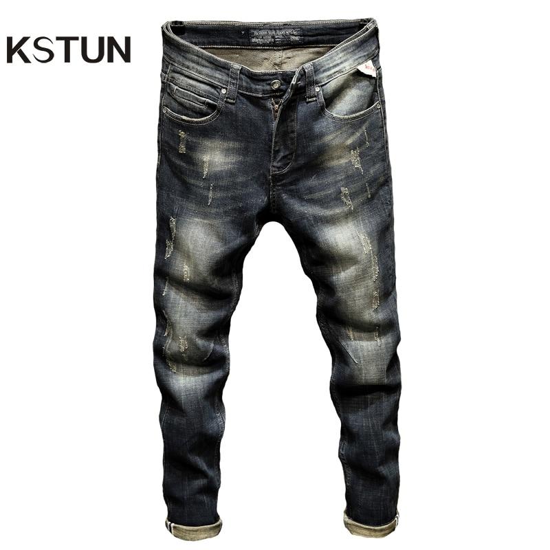 Punk Jeans Men Slim Fit Stretchy High Street Wear Retro Blue Casual Denim Jeans Pants Mens Biker Jeans Vintage Spring And Autumn