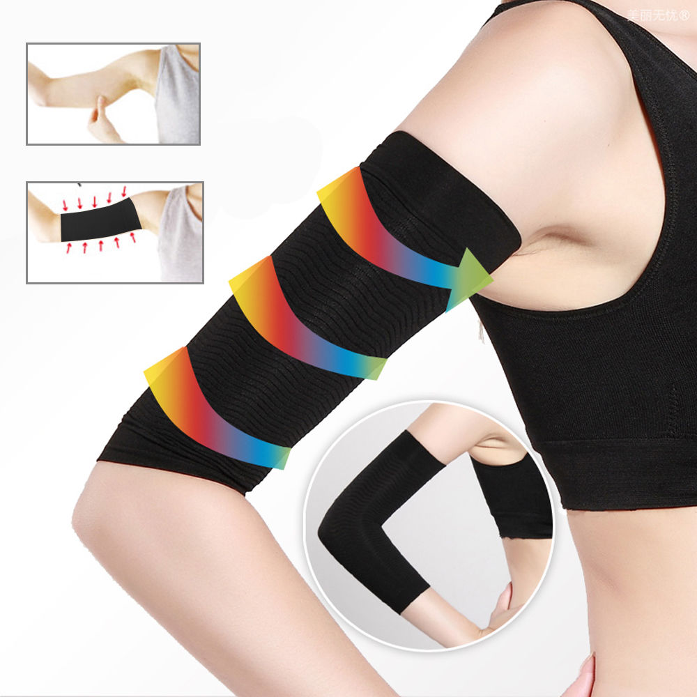 1pair Arm Sleeves Weight Loss Thin Legs For Women Shaper Thin Arm Calorie Off Fat Buster Slimmer Wrap Belt Black Arm Warmers