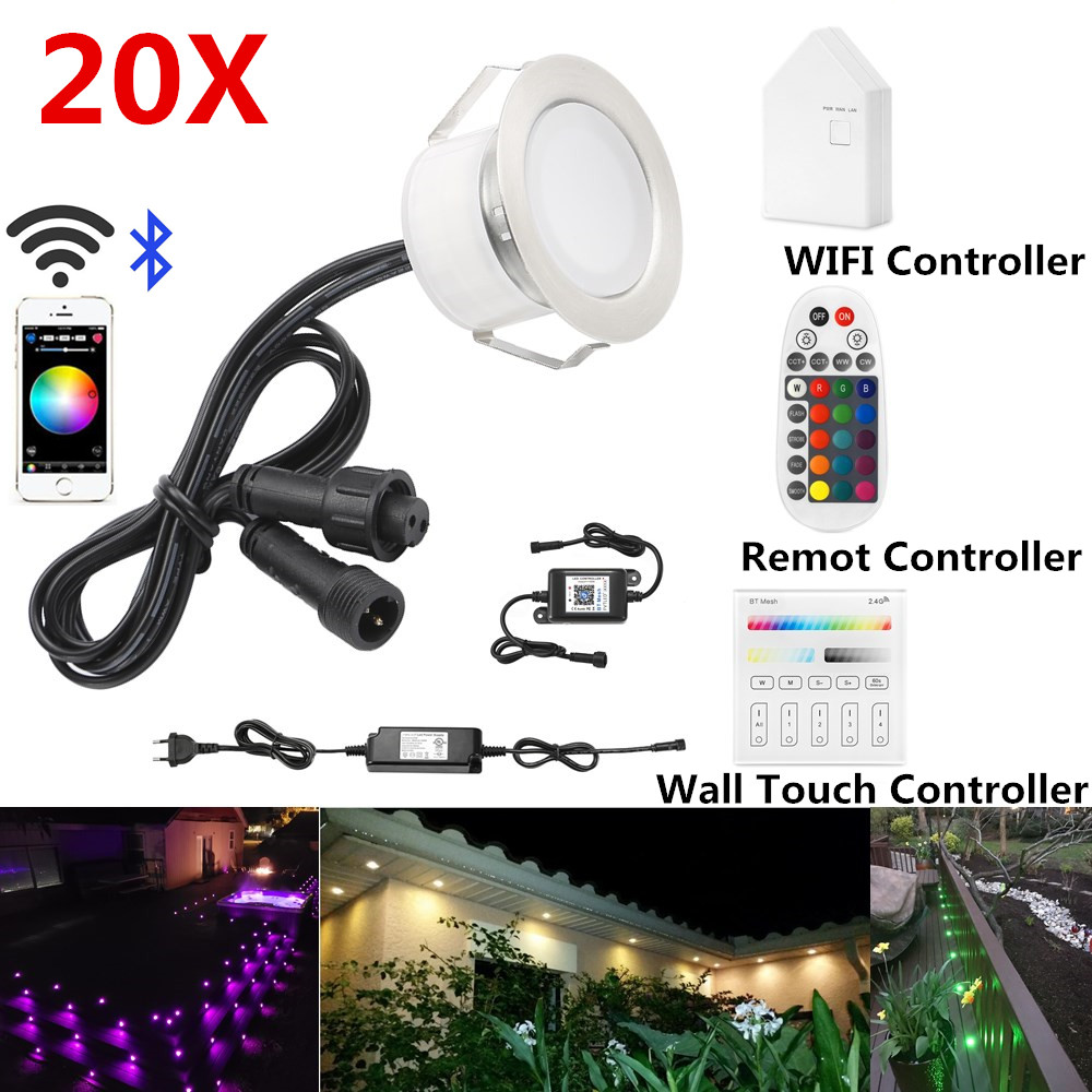 20X 45mm 12V RGB RGBW Terrace LED Deck Stair Soffit UP/Down Step Lights Waterprrof WIFI Bluetooth Mesh Controller Timer Dimmer