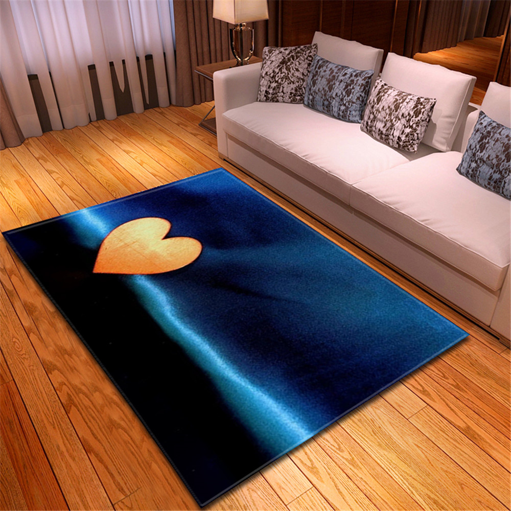 Romantic Valentine's Day 3D Carpet Soft Flannel Sofa Bedroom Area Rugs Heartbeat Red Heart Living Room Carpets for Home Decor image