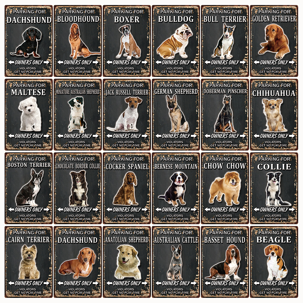 [ Kelly66 ] Pets Dogs Boxer Bulldog Beagle Chow Chow Metal Signs Tin Poster Home Decor Bar Wall Art Painting 20*30 CM Size Dy102