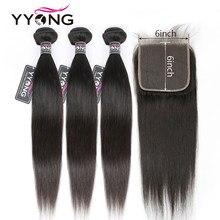 Mèches péruviennes naturelles Remy – Yyong, cheveux lisses, avec Lace Closure, 6x6, 8-30 pouces, Lot de 4 pièces