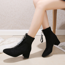 Woman Boots Autumn Winter Shoes Women Block Heel Flock Short Ankle Boots Front Zipper Female Boots Lady Black Casual Shoes J1008 цена 2017