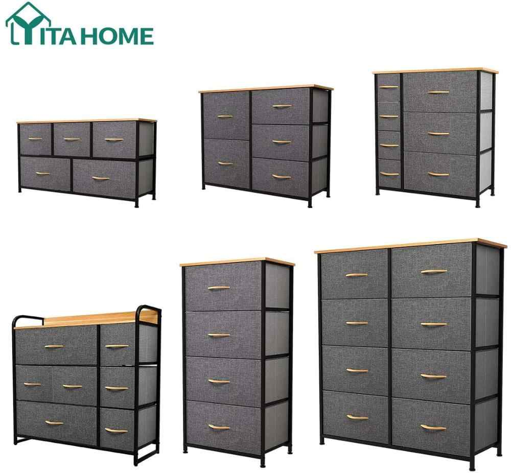 YITAHOME Fabric Dresser with 7 Drawers Living Room//& Closets Storage Tower with Large Capacity Black//Grey Easy Pull Fabric Bins /& Wooden Top Organizer Unit for Bedroom Sturdy Steel Frame
