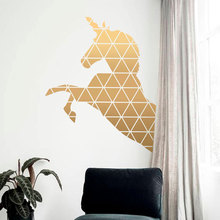 Creative Design Geometric Unicorn Wall Decals Vinyl Home Decor For Kids Room Nursery Removable Murals Wallpaper 3694
