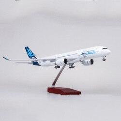 Avión a escala 47CM 1/142 Airbus A350 prototipo modelo de aerolínea XWB W luz y rueda de fundición de plástico Avión de resina para la colección