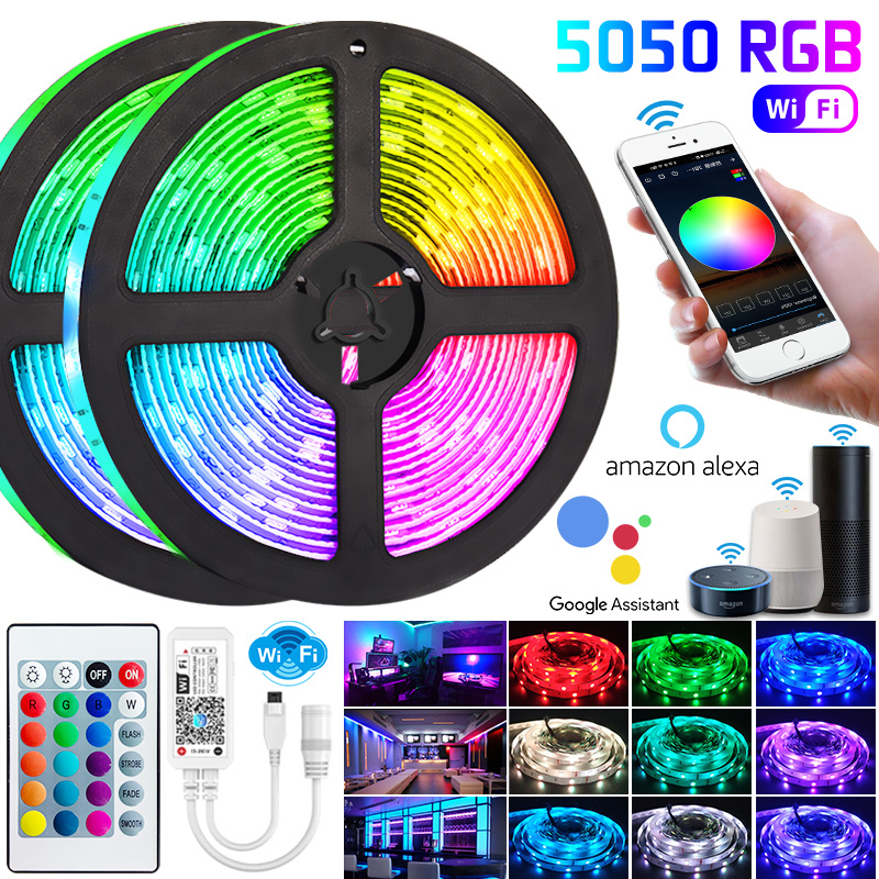 5050 WIFI Led Strip light SMD Flexible Ribbon 5m 15m Led Lights 20m 10m Tape Diode  With Phone Bluetooth APP For Christmas