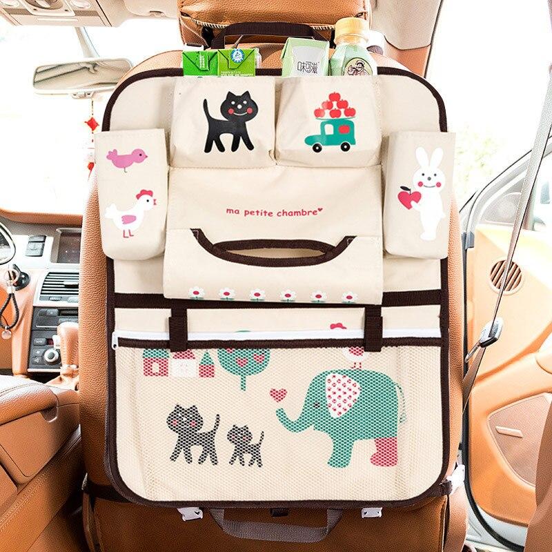baby car cartoon Car Seat Back Storage Hang Bag Organizer Car-styling Product Tidying Baby Care Interior back Seat Protector