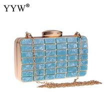 цена на YYW Women Evening Party Clutch And Purse Acrylic Clutch Bag Skyblue Luxury Designer Wedding Box Bag With Chain Shuolder Bag 2019