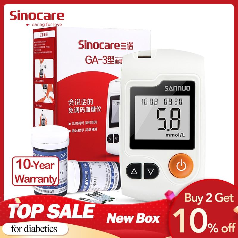 Inglês Guia GA-3 Sinocare Medidor & Tiras de Teste de Glicose No Sangue & Lancetas Glm Médica Medidor de Açúcar No Sangue Diabetes Glucometer Tester