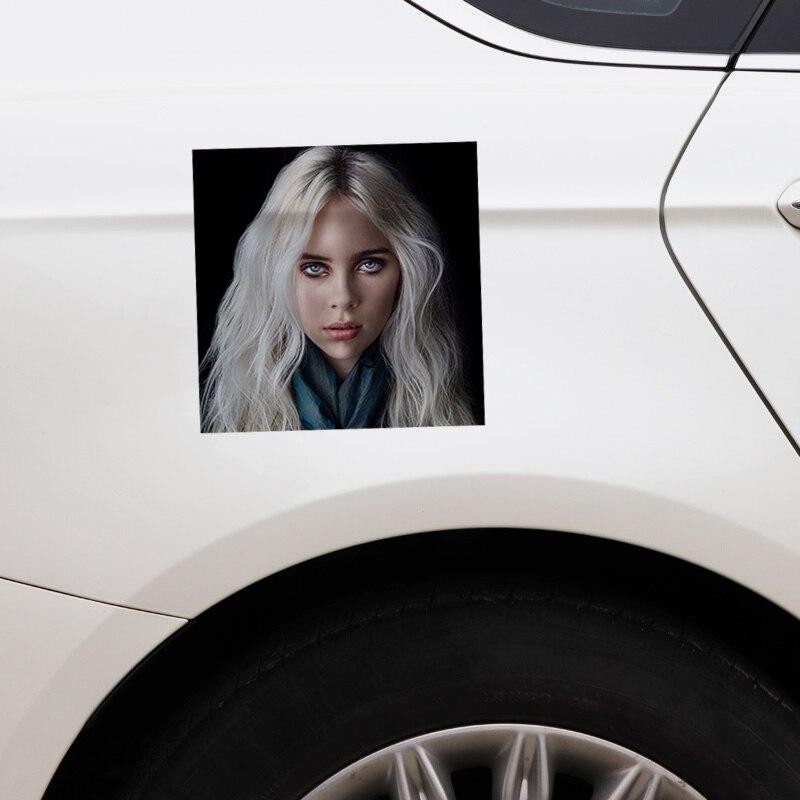 Купить с кэшбэком 1 pcs 13CM*13CM Billie Eilish Stickers Car Sticker Reflective Funny Decal PVC