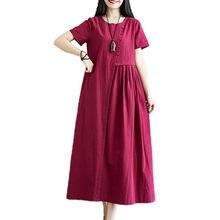 Uego Original Design 2021 New Fashion Summer Dress Cotton Linen Solid Color Button Vintage Dress Plus Size Women Casual Dress