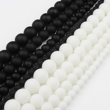 4/6/8/10/12 mm AAAA Natural Quality Black& White Polish Matte Onyx Agates Round Beads 15 Strand Pick Size For Jewellery Making 15 5 strand natural white